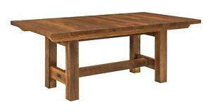 Amish Rustic Trestle Dining Table Reclaimed Barn Wood Leaf