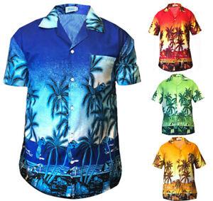 DéSintéRessé Homme Chemise Hawaïenne Palmier Stag Plage Aloha Fête Plage Fantaisie Taille M - 3xl-afficher Le Titre D'origine