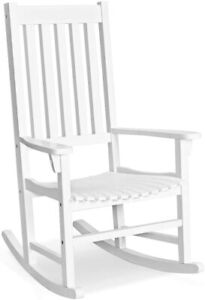 Sedia a Dondolo da Esterno, Sedia con Struttura in Legno di Acacia, (bianco)