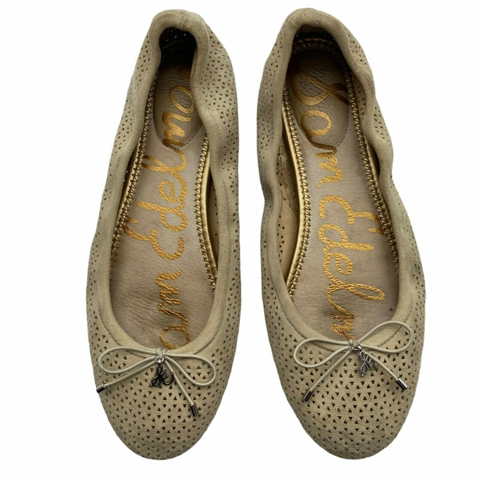 Sam Edelman Felicia 2 Tan Leather cutout detail Ballet Flats Women's 8.5