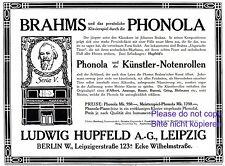 Klavier Phonola Hupfeld Reklame 1920 selbstspielend Notenrolle Johannes Brahms +
