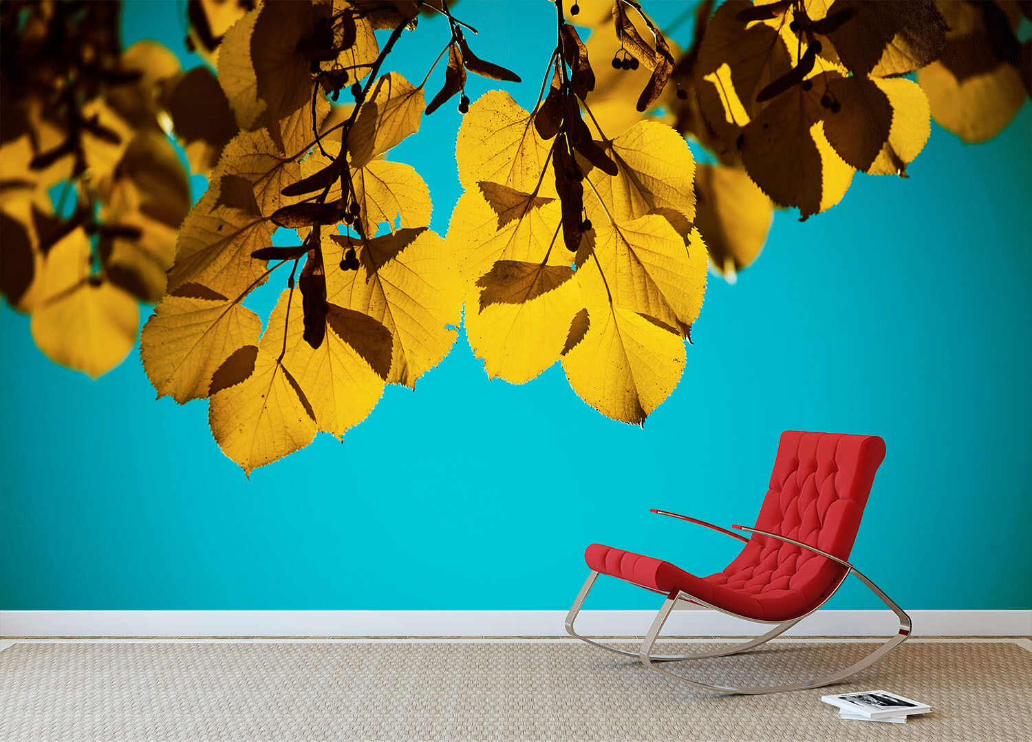 3D Hanging Leaves 880 Wall Paper Wall Print Decal Wall Deco Wall Indoor Murals