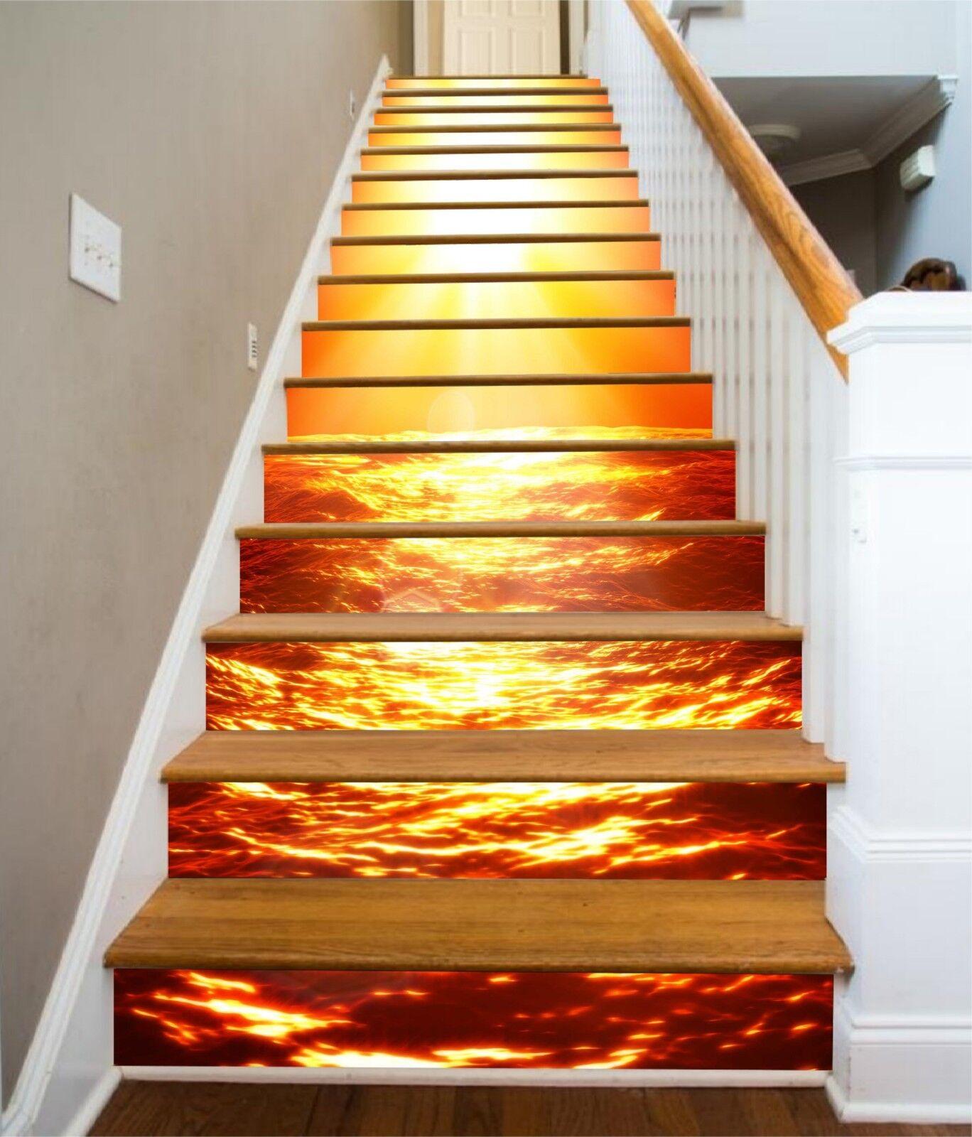 3D Meer Sonne 124 Stair Risers Dekoration Fototapete Vinyl Aufkleber Tapete DE