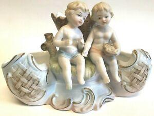 Norleans Japan Victorian Porcelain Bisque Dual Planter Vase Cherub