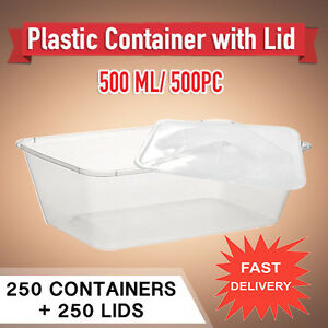 ef735fdf7fd9 Take Away Rectangular Plastic Containers 500ml 250 ML + Lids 250 ...