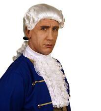 Mens Colonial Wig White 18th Century Peruke Fancy Dress Civil War Nobleman Judge
