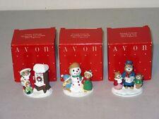 3 Vtg Avon Box Xmas Forest Friends Mini Figurines Caroling Shopping