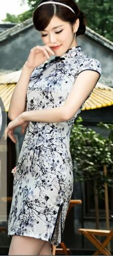 Short sleeve Oriental Cheongsam Cheong-Sam Qipao black /& White in Plum Flower