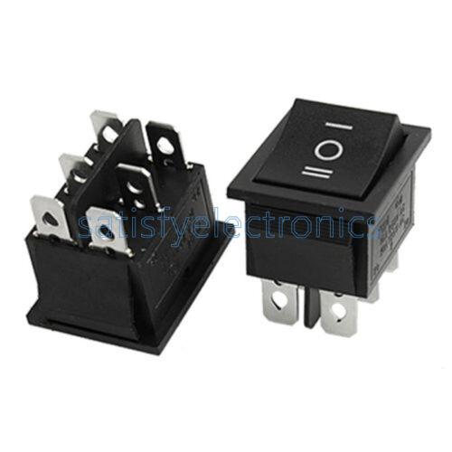 5PCS 6Pin DPDT ON-OFF-ON 3 Position Snap Boat Rocker Switch AC 6A//250V 10A//125V