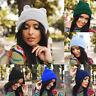 New Women Winter Beanie Horns Cat Ear Crochet Braided Knit Ski Wool Cap Warm Hat