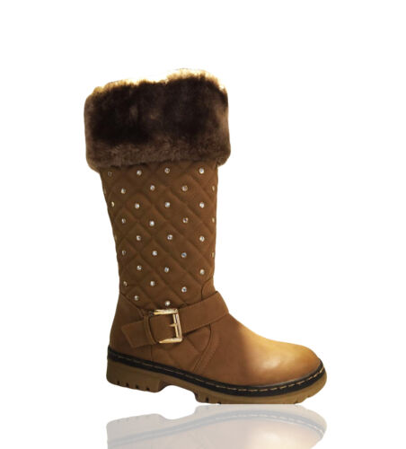 UK Quilted Womens Ladies Mid Calf Boots Fur Lined Zip Boots Winter Shoes Size UK