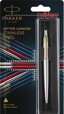 0.8 mm Blue Ink Parker Jotter Steel GT Gold Trim Ball Point Pen Fine Nib