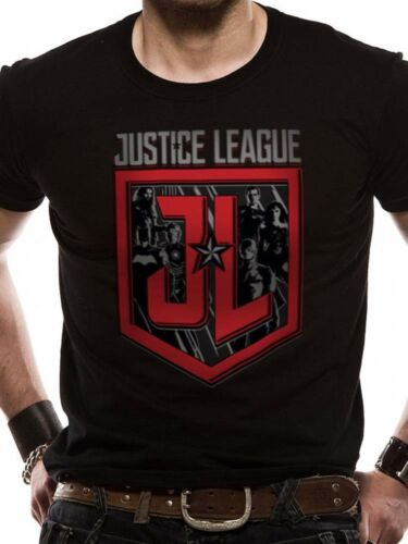 Justice League Logo Shield Characters Movie Official DC Comics Black Mens Tshirt