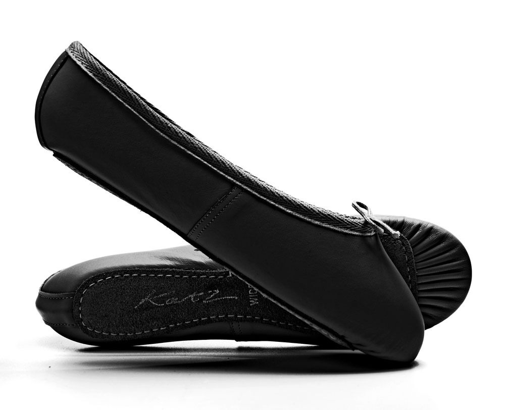 Black Leather WIDE FIT Ballet Shoes Childs & Adults All Sizes By Katz Dancewear