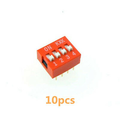 10PCS 2.54mm Pitch 4-Bit 4 Positions Ways Slide Type DIP Switch Red