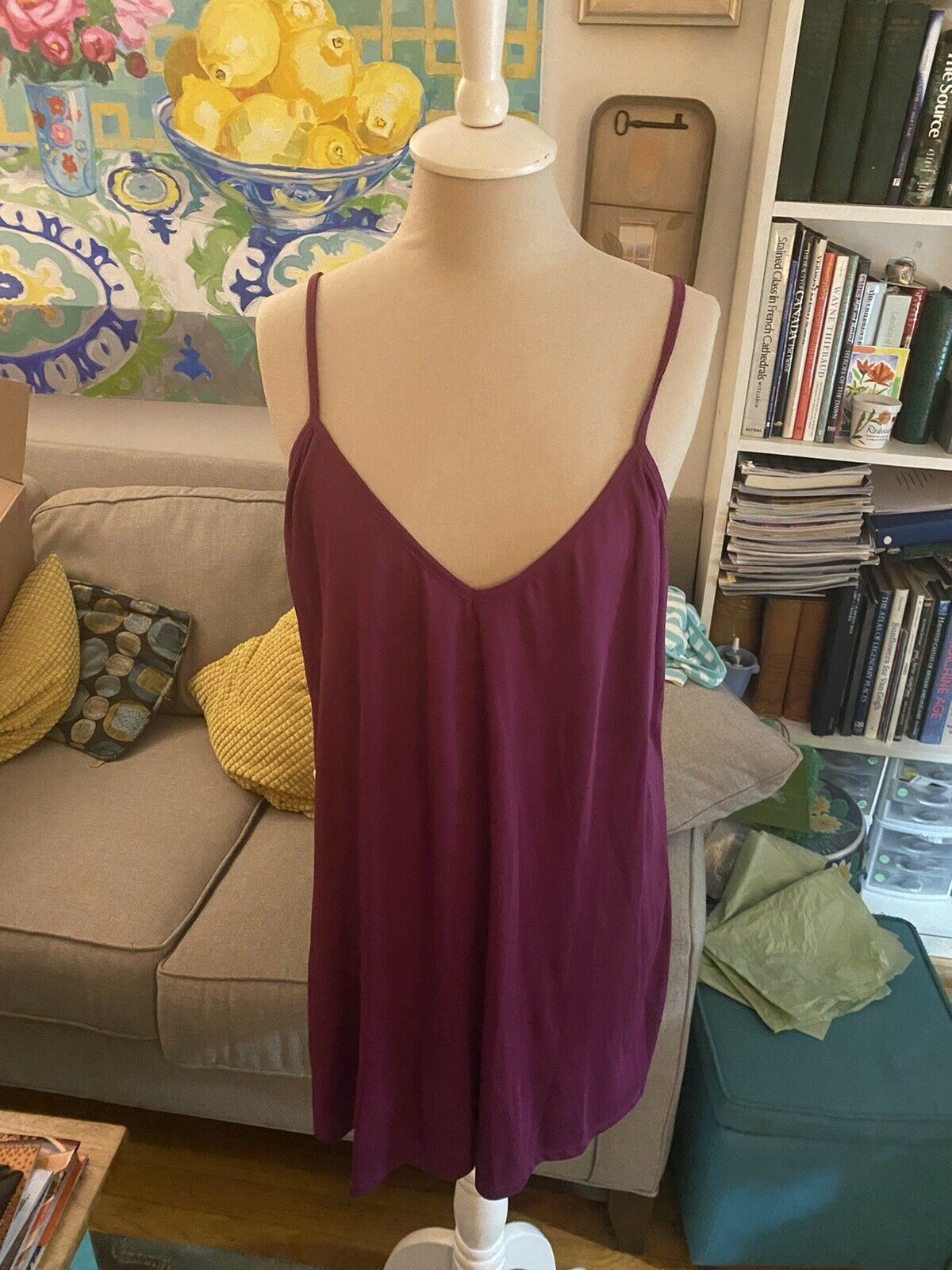 Old Navy Flowy Dress With Underdress L Magenta Wh… - image 6