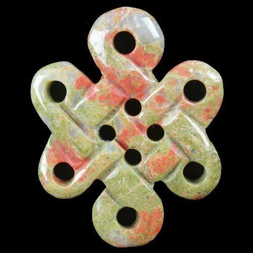 Carved Unakite Gemme Chinois Noeud Pendentif Perles 54x41x7mm JC268