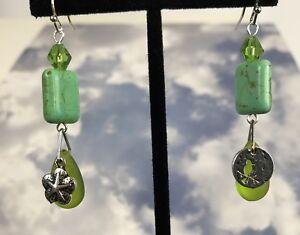 Sea-Beach-Glass-Pebble-Dangle-Earrings-Green-Bird-Sand-Dollar-Surgical-Steel
