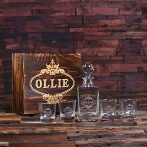 Personalize-Engraved-Whiskey-Decanter-Round-Bottle-Lid-w-Optional-Glasses-amp-Box
