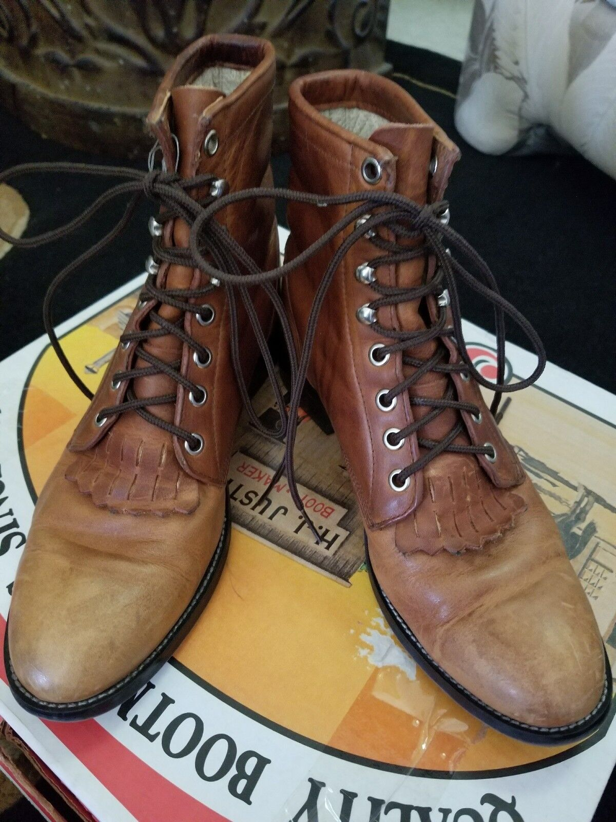 Justin Boots  LaceUp Chestnut Brown 5D  free shipping on all orders