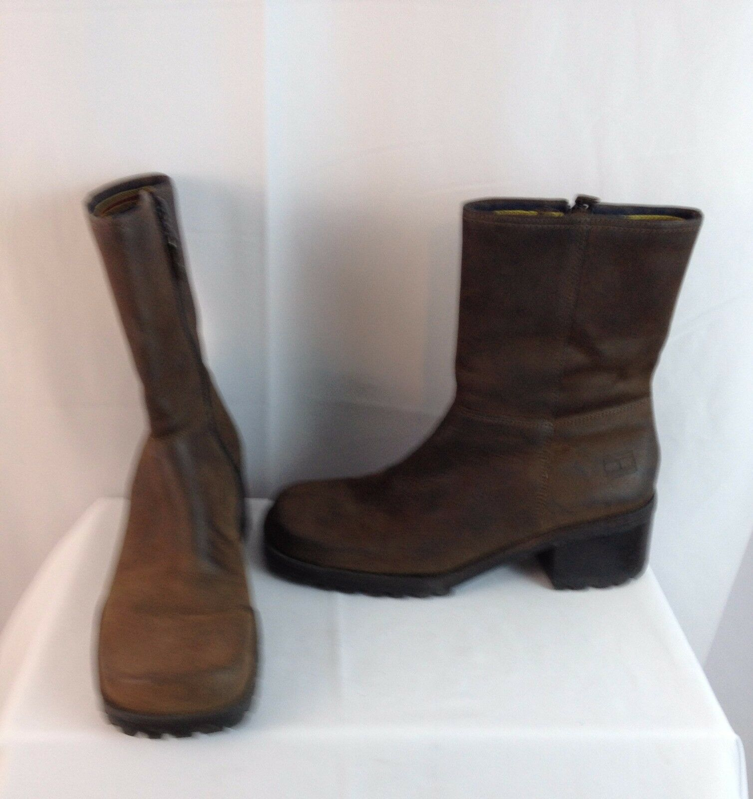 Tommy Hilfiger Boots Size 7 M Brown Leather Mid-Calf Side Zip Made in Brazil