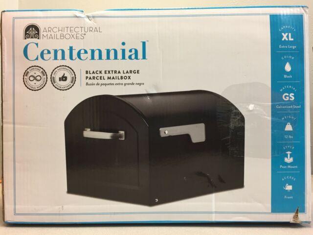 Architectural Mailboxes 950020B-10 Centennial Galvanized Steel Post Mount Black