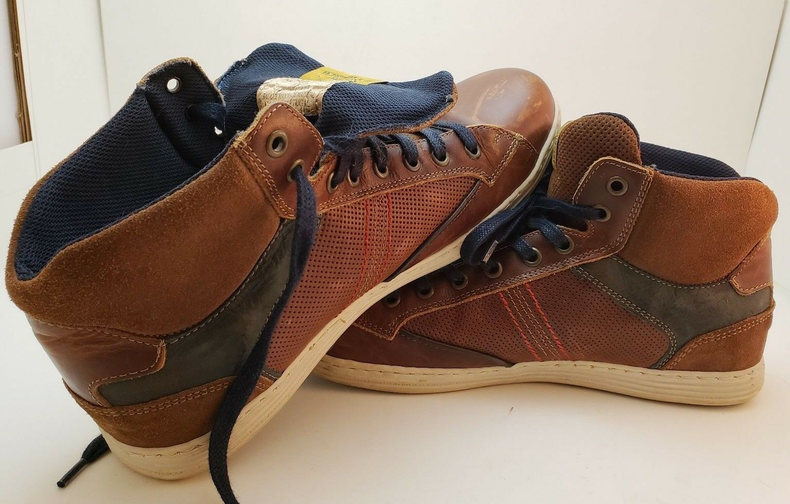 BULLBOXER MENS Brown & bluee boots, hightop sneaker, Chukka boots, shoes size 10