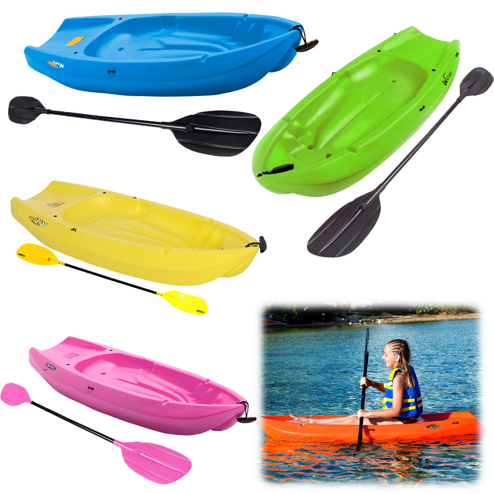 Kid Kayak 6 Ft Youth with Bonus Paddle Water Sport Rafting Boats Lake Watercraft