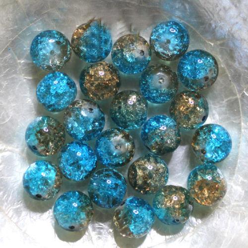 """10 mm Rondes 10 Perles en Verre Craquelé DUO /""""BLEU TURQUOISE /& DORÉ/"""""""
