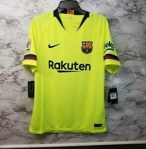buy popular abd98 abdf8 Details about Nike FC Barcelona Jersey Away 2018/2019 Volt Green 918990-703  Mens S New 90$ Tag