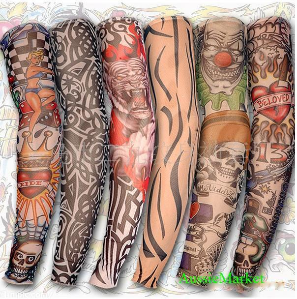 6 x tattoo sleeves stocking temporary costume party rave gift fancy dress tshirt