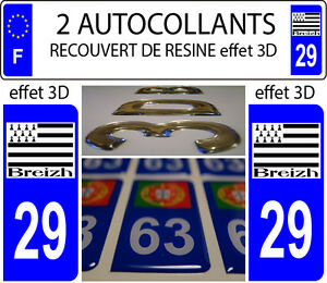 2 Stickers Plaque Immatriculation Auto Tuning Doming Resine Bretagne Breizh D 29