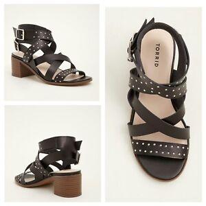 76d4fc34584 Torrid Womens Black Wraparound Studded Block Heels 10W (Wide Width ...
