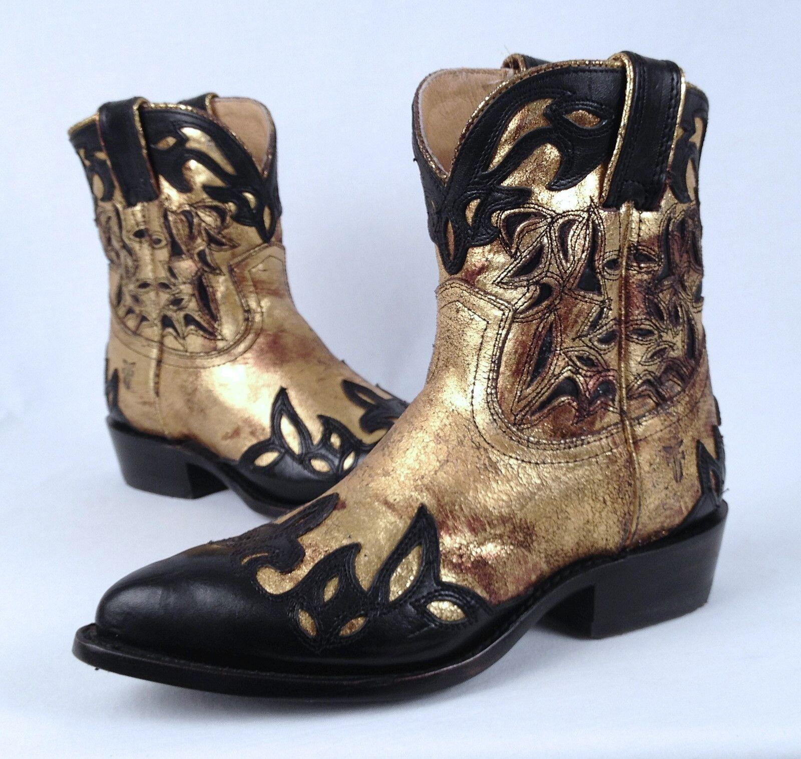 NEW  Frye 'Billy' Short Boot- Vintage Black gold -Size 6 B  (B61)