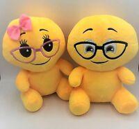 Cute Couple Emoji Yellow Doll Nerd Boy/girl 9.5 Stuffed Soft Plush Toy 2pcs