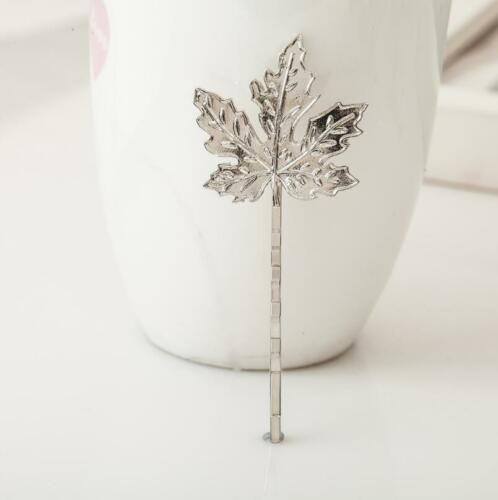 Elegant Fashion Women Gold Silver Maple Leaves Hairpin Hair Clip Hair Accessory