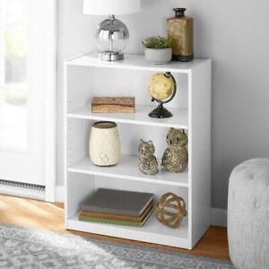 Bookshelf Bookcase Wood 3-Shelf Wide Storage Book Display Adjustable Shelving