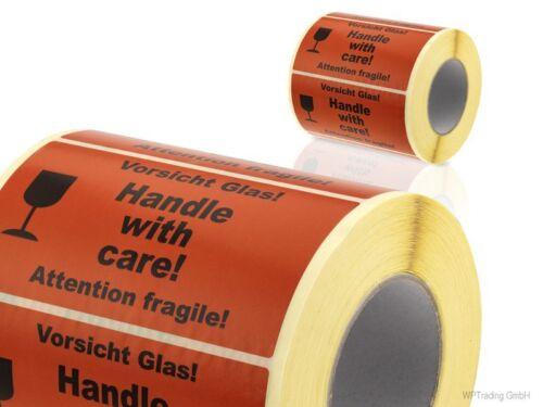 """1.000 Warnetiketten /""""Vorsicht Glas 10 Handle with care Attention fragile/"""""""