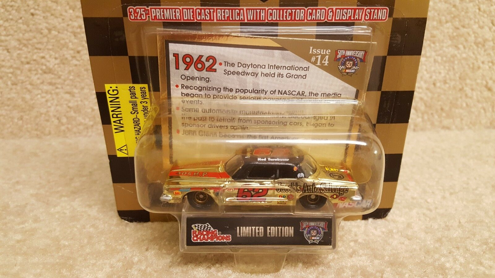 New 1998 Racing Champions 1 64 NASCAR gold Ned Turnbauer 1962 Plymouth