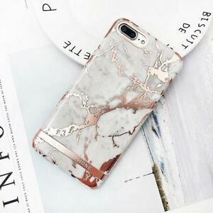 Rose-Gold-Marble-Print-Hard-PC-Phone-Case-For-iPhone-7-8-Plus-6-X-XS-Black-White