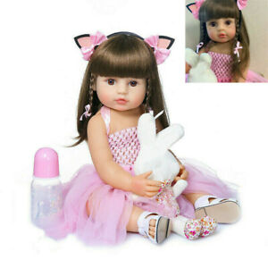 "22"" Lifelike Doll Reborn Baby Toddler Girl Full Body Silicone Vinyl Waterproof"