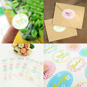 "120Pcs/5 sheets ""Thank You"" cute Oval Adhesive Seal Sticker Label Envelope Decor"