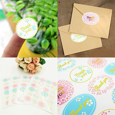"""120Pcs//5 sheets /""""Thank You/"""" cute Oval Adhesive Seal Sticker Label Envelope Decor"""