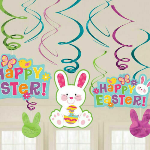 PACK OF 12 HAPPY EASTER HANGING PARTY SWIRLS DECORATIONS BUNNY RABBIT