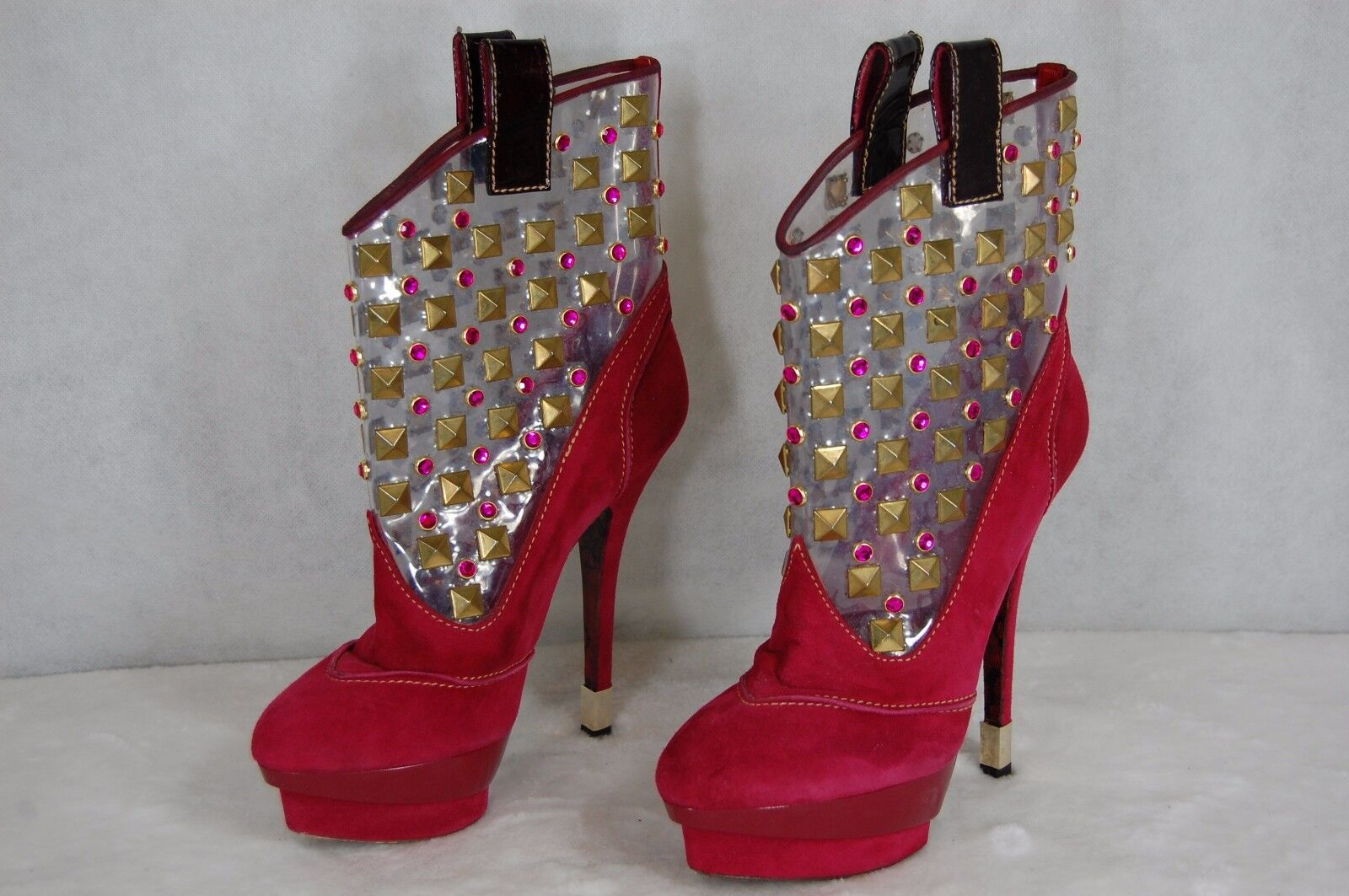 SUPER SEXY!!! CESARE PACIOTTI  RED SUEDE CLEAR STUDDED ANKLE BOOTS US 7.5