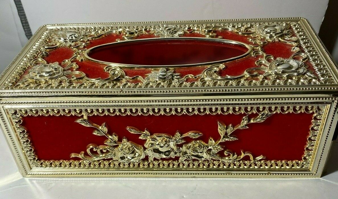 Vintage Hollywood Regency Red and Gold Plastic Tissue Box Cover