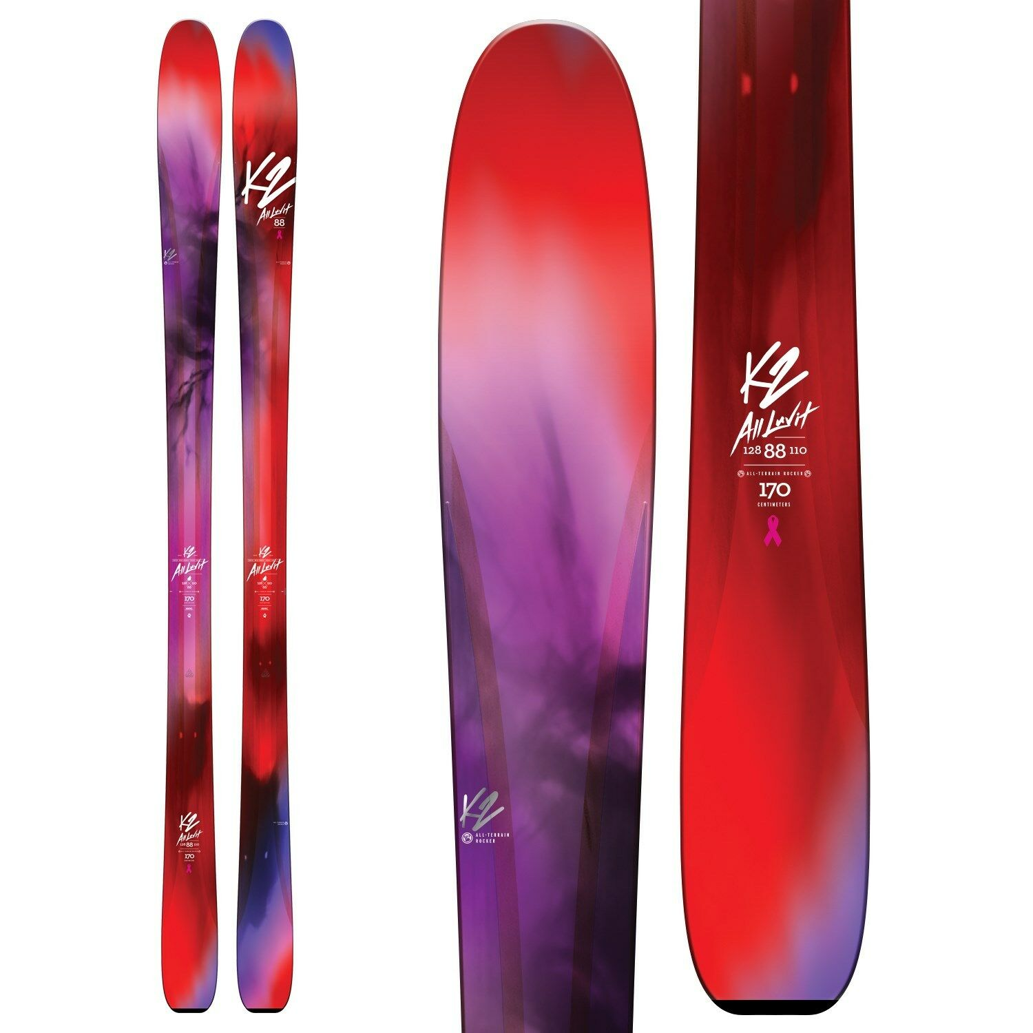 K2 All Luv It 88 ladies snow skis 163cm, NEW 2018 (binding options available)