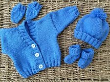 HAND KNITTED NEWBORN BABY CARDIGAN, HAT, MITTS AND BOOTIES SET - COBALT BLUE