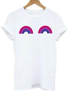BISEXUAL-Rainbow-Boobs-Titties-t-shirt-modern-tee-LGBT-Pride-Top-Adult-sm-xxxl