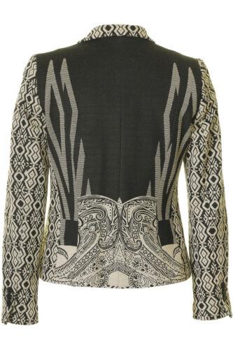 Busy Ladies Beige And Black Pattern Jacket Blazer